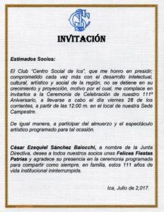 Invitación A Ceremonia De Celebración De 111 Aniversario